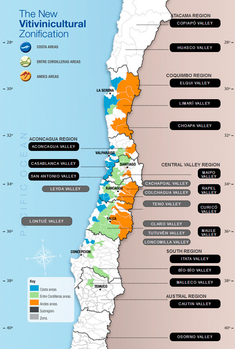 Mapa vinícola do Chile (Wines of Chile)