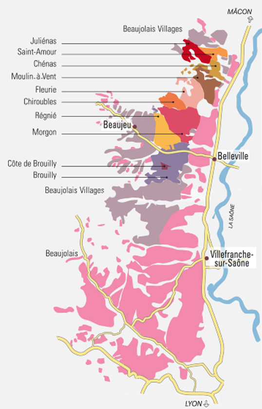 Mapa vinícola do Beaujolais